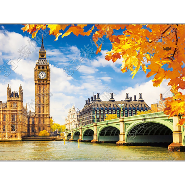 Fall in London - Triple Views - 3D Action Lenticular Poster - 12x16 - 3 Prints in 1