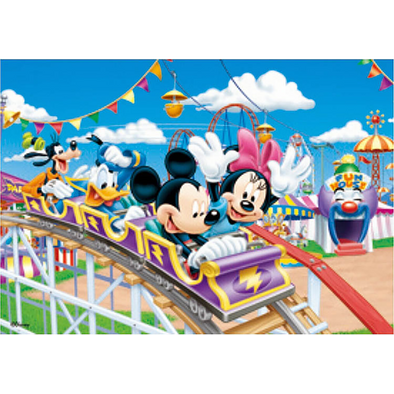 Mickey Mouse and Friends ride the Roller Coaster - Disney - 3D Lenticular Poster - 10x14