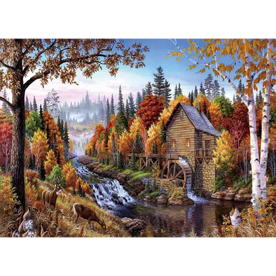 Watermill Scene Country - 3D Lenticular Poster - 12x16 Print