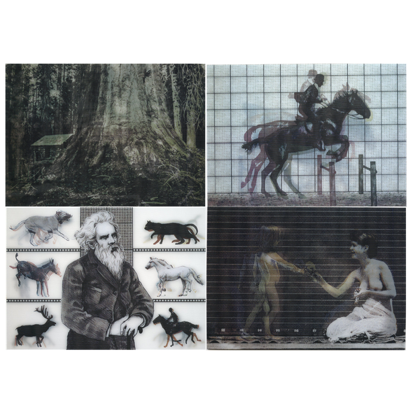 4 photographic - Eadweard Muybridge - 3D Lenticular Postcards  Greeting Cards