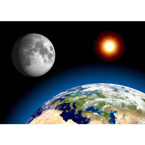 Earth, Moon, Sun - 3D Lenticular Postcard Greeting Card