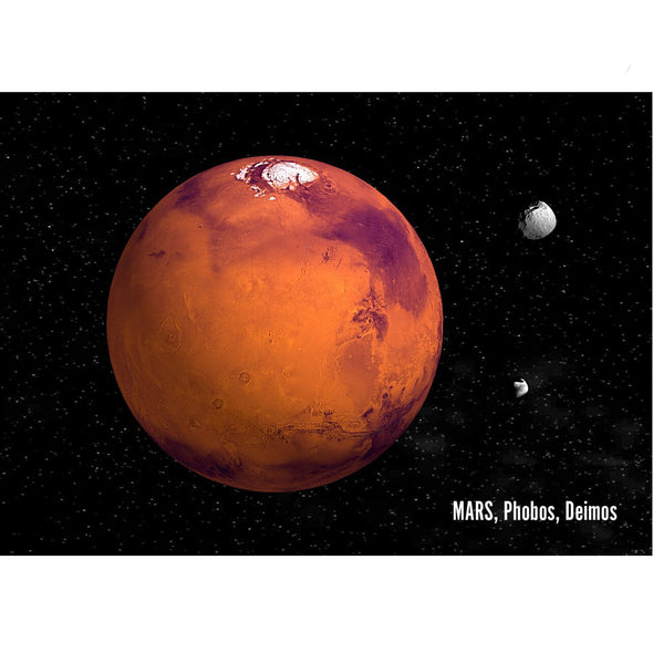 Mars with Moons Phobos and Deimos - 3D Lenticular Postcard Greeting Card