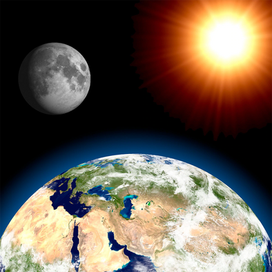 Earth, Moon and Sun - 3D Lenticular Postcard Greeting Card - Maxi