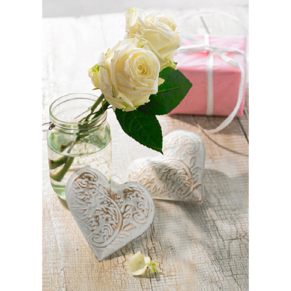 White Roses - 3D Lenticular Postcard Greeting Card