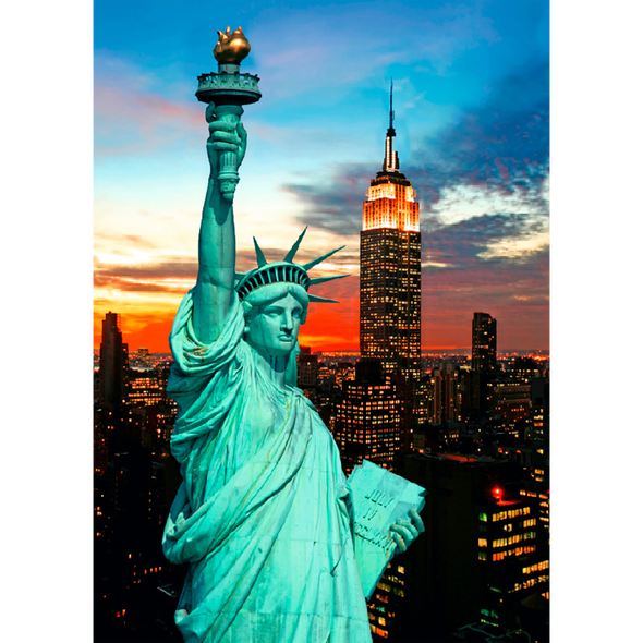 Statue of Liberty and New York City skyline - 3D Lenticular Postcard Greeting Card