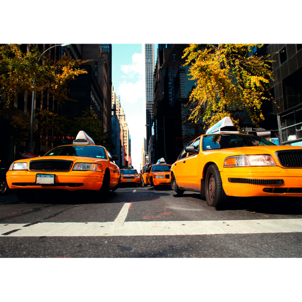 Yellow Cabs - New York City - 3D Lenticular Postcard Greeting Card