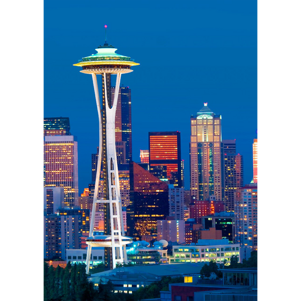 Space Needle and Seattle Skyline - 3D Lenticular Postcard Greeting Card
