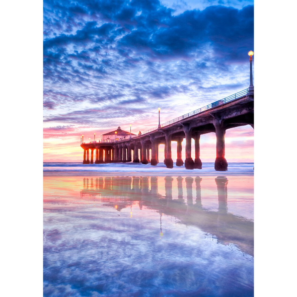 Manhattan Beach Pier, California - 3D Lenticular Postcard Greeting Card