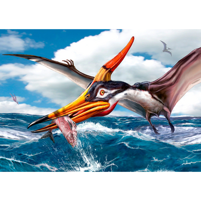 Pteranodon fishing - 3D Lenticular Postcard Greeting Card