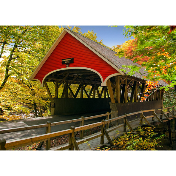 New England Covered Bridge - 3D Lenticular Postcard Greeting Card