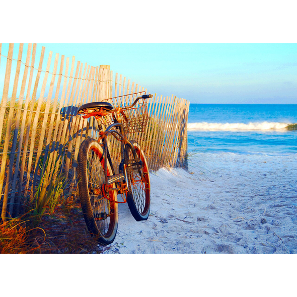 Bicycle on Beach - 3D Lenticular Postcard Greeting Card