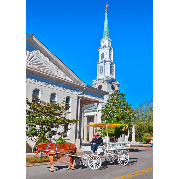 Colonial Church and Carriage - 3D Lenticular Postcard Greeting Card