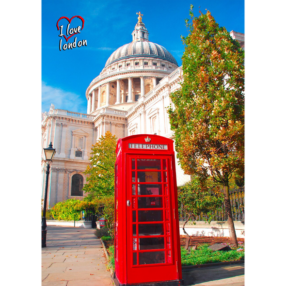 St. Paul's Cathedral and Red Telephone Box - 3D Lenticular Postcard Greeting Card