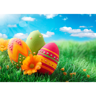 Happy Easter - Eggs and Flowers in Field - 3D Lenticular Postcard Greeting Card