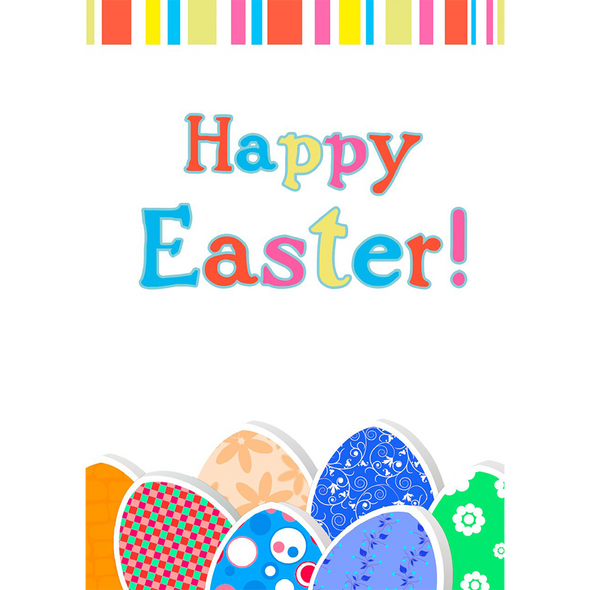 Happy Easter Wish - Changing Color Eggs - 3D Action Lenticular Postcard Greeting Card