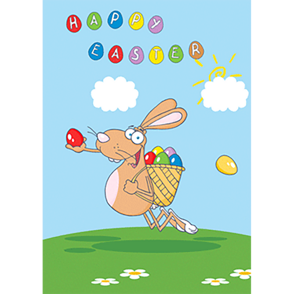 Happy Easter - Bunny Delivering Eggs - 3D Action Lenticular Postcard Greeting Card