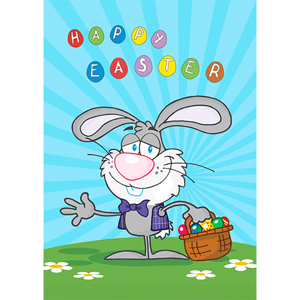 Happy Easter - Professor Bunny Rabbit With a Wave - 3D Action Lenticular Postcard Greeting Card