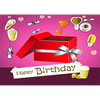 Happy Birthday - Red Box - 3D Action Lenticular Postcard Greeting Card