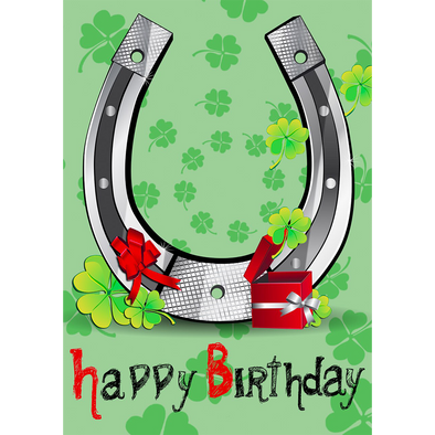 Happy Birthday - Horseshoe - 3D Action Lenticular Postcard Greeting Card