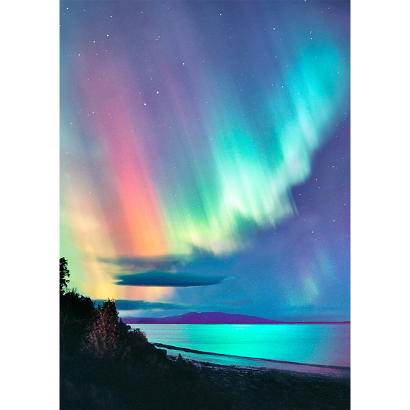 Aurora Borealis - Northern Lights - 3D Lenticular Postcard Greeting Card