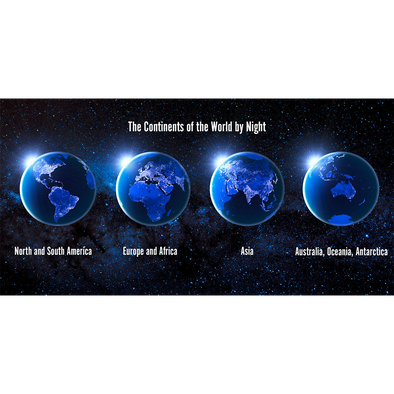 Continents of World by Night - 3D Lenticular Postcard Greeting Card - Oversize