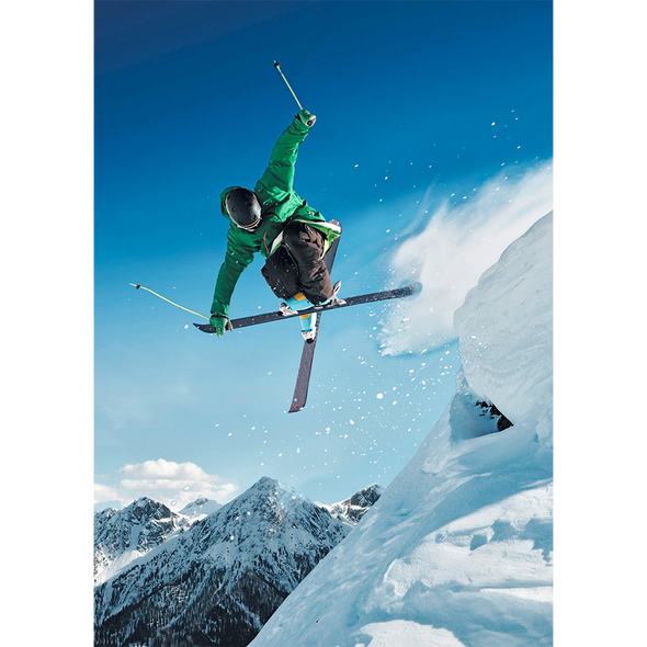 Winter Sports - Skier - 3D Lenticular Postcard Greeting Card