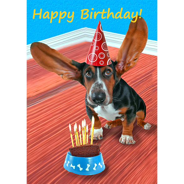 Happy Birthday Basset Hound Dog - 3D Lenticular Postcard Greeting Card