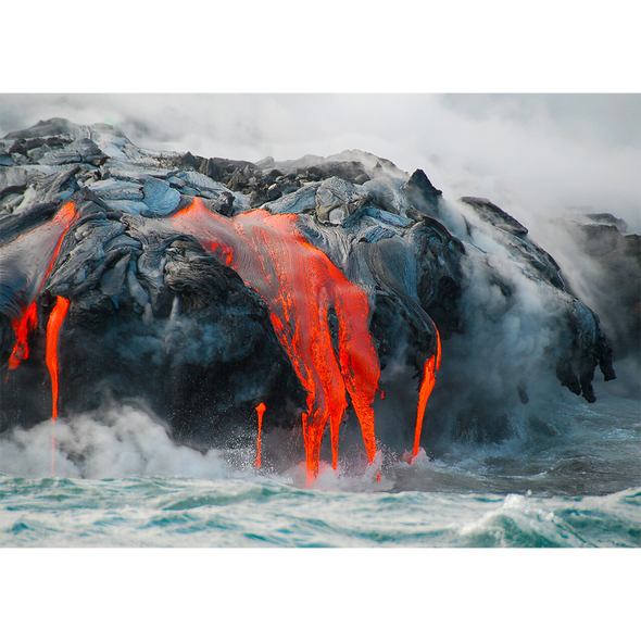 Lava Meets the Sea - 3D Lenticular Postcard Greeting Card