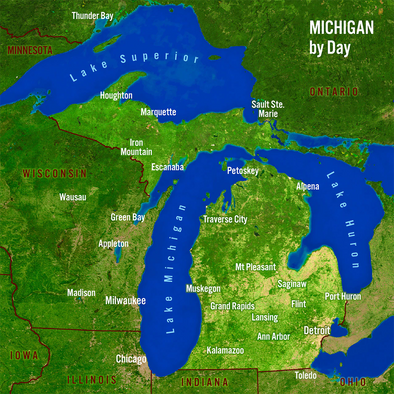 Michigan Map by Day and Night - 3D Action Lenticular Postcard Greeting Card - Maxi