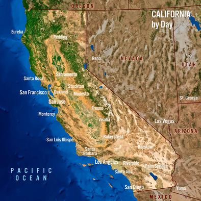 California Map by Day and Night - 3D Action Lenticular Postcard Greeting Card - Maxi