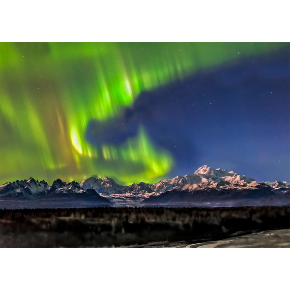 Denali and Aurora -  3D Lenticular Postcard Greeting Card