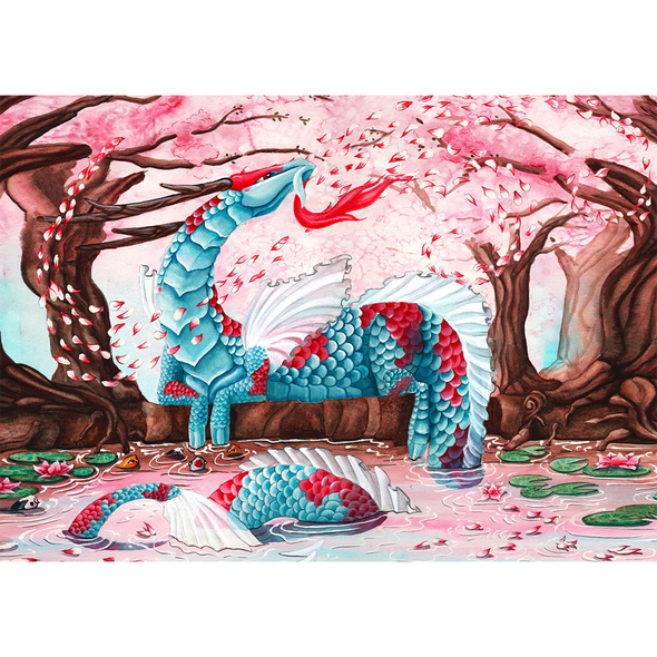 Cherry Blossom Dragon - 3D Lenticular Postcard Greeting Card