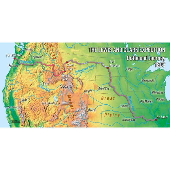 Lewis and Clark Expedition Map - 3D Action Lenticular Postcard Greeting Card - Oversize