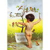 Victorian Nude Child Orchestrating Birds - 3D Lenticular Postcard Greeting Card