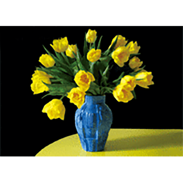 Yellow Tulips in Blue Vase - Flowers - 3D Lenticular Postcard Greeting Card