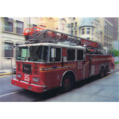 Fire Engine on Street - 3D Lenticular Postcard Greeting Card