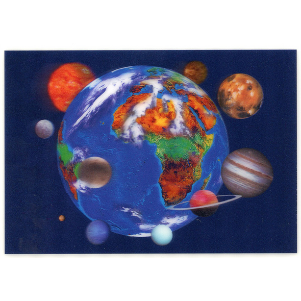 Earth surrounded by Planets - 3D Lenticular Postcard Greeting Card