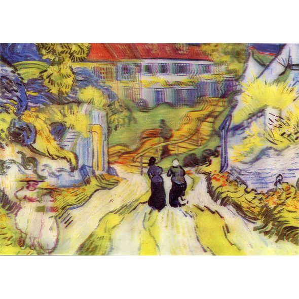 Vincent Van Gogh - Stairway at Auvers - 3D Lenticular Postcard Greeting Card