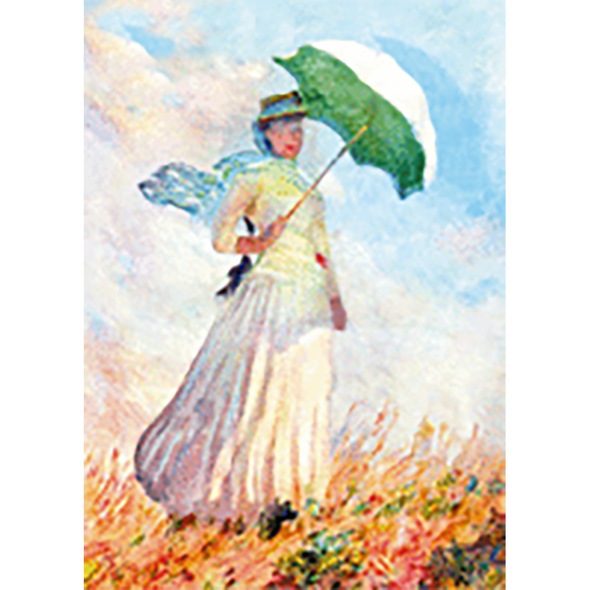 Claude Monet - Woman with a Parasol facing righ - 3D Lenticular Postcard Greeting Card