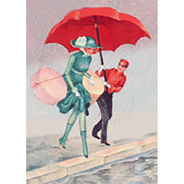 Lady with Red Umbrella - 3D Lenticular Postcard Greeting Card
