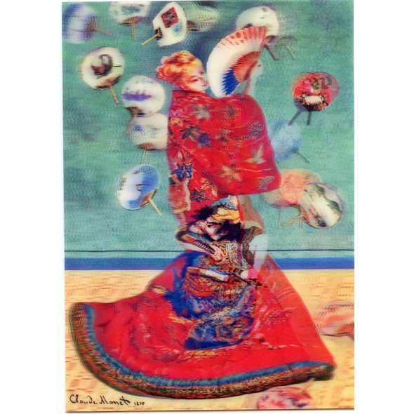 Madame Monet in Japanese kimono by Claude Monet - 3D Lenticular Postcard Greeting Card