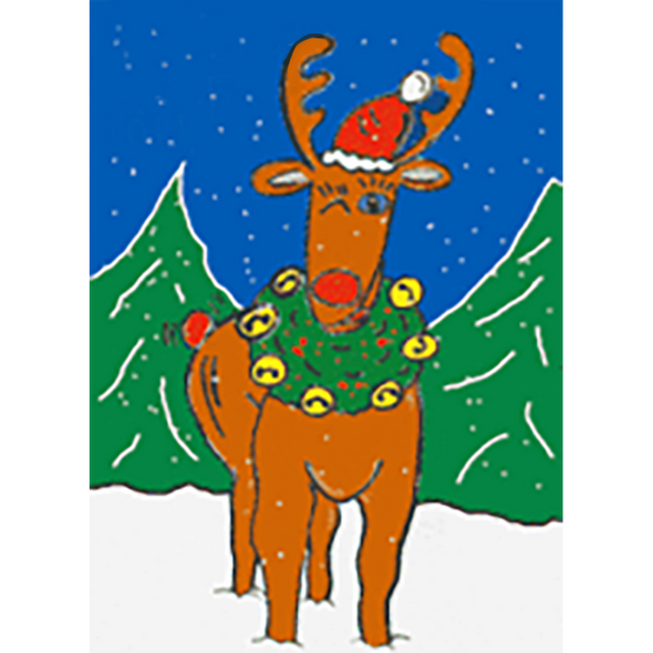 Rudolph the Red-Noise Reindeer - 3D Lenticular Postcard Greeting Card