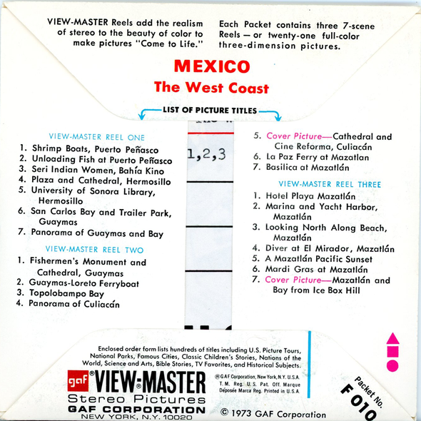 ViewMaster - Mexico - the West - Cost - F010 - Vintage - 3 Reel Paket - 1970s Views