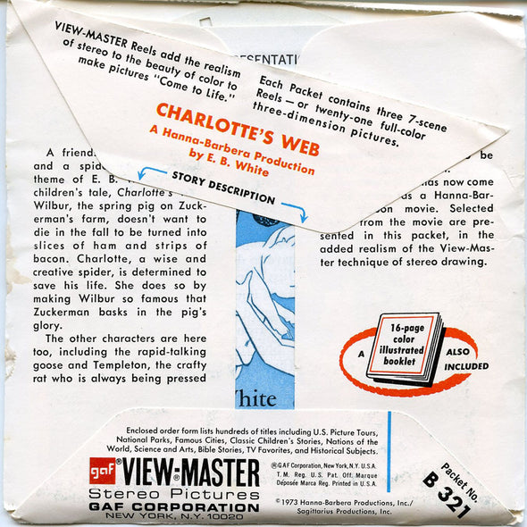 Charlott'es Web - B321 - Vintage Classic View-Master 3 Reel Packet - 1970s Views