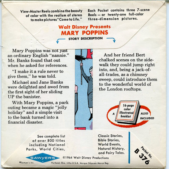 Mary Poppins - B376 - Vintage Classic View-Master - 3 Reel Packet - 1960s views