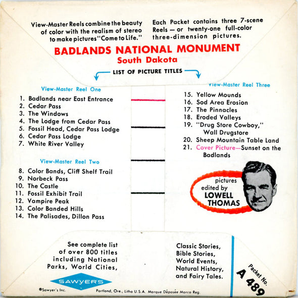 ViewMaster - Badlands National Monument - A489 - Vintage - 3 Reel Packet - 1960s views