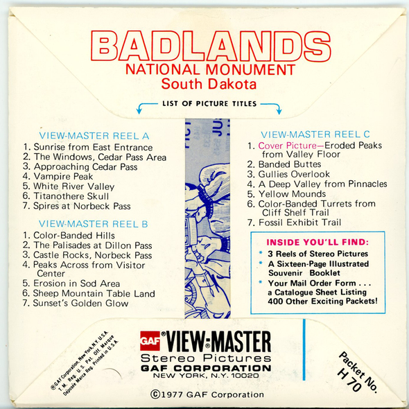 ViewMaster Badlands National Monument - H70 - Vintage - 3 Reel Packet - 1970s views
