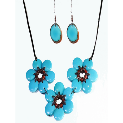 Turquoise & Brown Organic TAGUA Necklace and Earrings Set - Mid-Century Modern - Daisy Three - Artisan Elegant