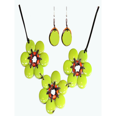 Lime & Orange Organic TAGUA Necklace and Earrings Set - Mid-Century Modern - Daisy Three - Artisan Elegant