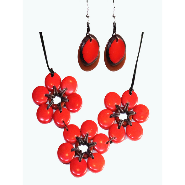 Red & Brown Organic TAGUA Necklace and Earrings Set - Mid-Century Modern - Daisy Three - Artisan Elegant